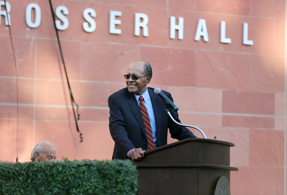 Photo: Cal State LA President Emeritus James M. Rosser addresses the crowd during the Rosser Hall dedication on April 10, 2017.  (Credit: J. Emilio Flores/Cal State LA)
