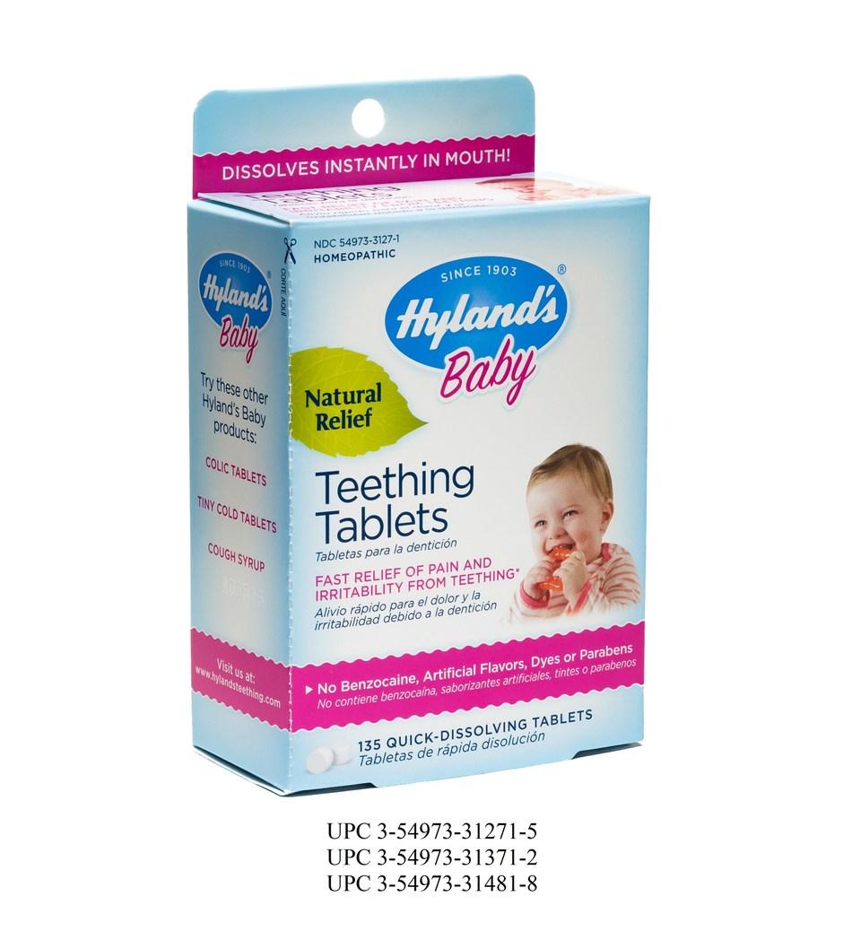 Hyland's Baby Teething Tablets UPC 3-54973-31271-5, UPC 3-54973-31371-2, UPC 3-54973-31481-8