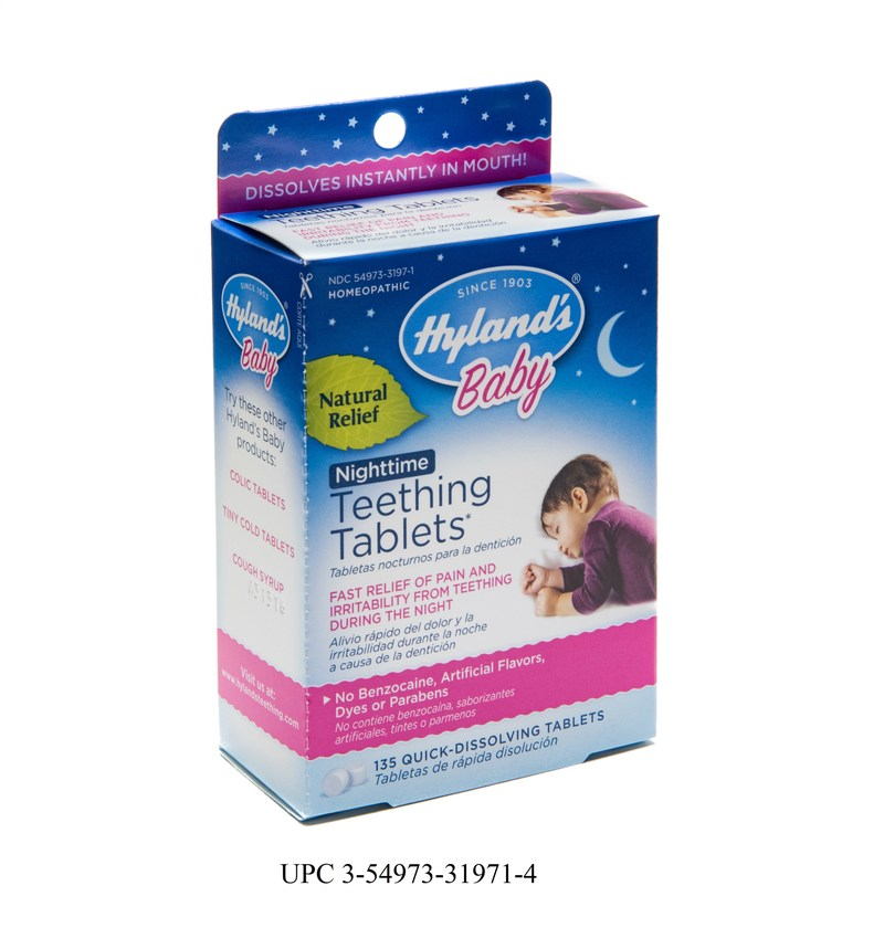 Hyland's Baby Nighttime Teething Tablets UPC 3-54973-31971-4