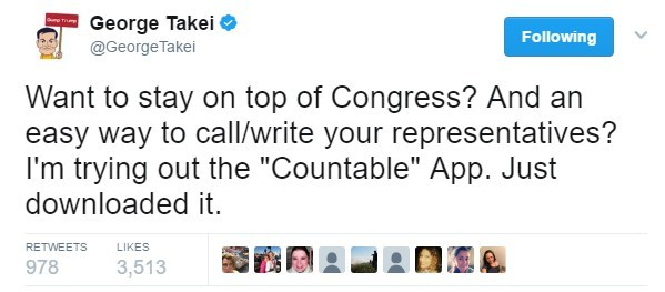 George Takei promotes Countable to his Twitter followers