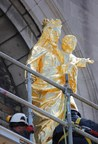 After years of loving attention, the statue Our Lady, Help of Christians is back on the pediment of Montreal's oldest stone chapel. (CNW Group/Musée Marguerite-Bourgeoys)