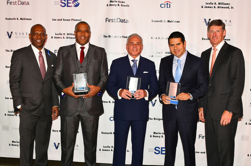 SEO president & CEO William Goodloe, with SEO Annual Awards Dinner Honorees Robert F. Smith, Founder, Chairman and CEO, Vista Equity Partners; Joe Plumeri, Vice Chairman of the Board of Directors, First Data Corporation, and SEO Board Member; and Cesar Conde, Chairman, NBCUniversal International Group and NBCUniversal Telemundo Enterprises, and SEO Career Alumnus '94; and SEO Annual Awards Dinner Chairman Michael L. Corbat, Chief Executive Officer, Citi. Photo Credit: Sunny Norton