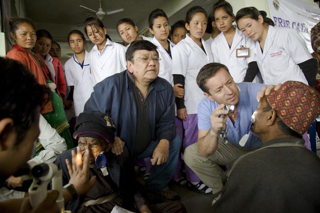 Dr. Sanduk Ruit and Dr. Geoff Tabin in Dolakha, Nepal. Photo: Michael Amendolia