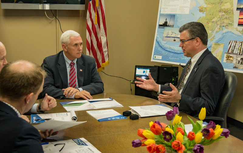 Alaska Gasline Development Corporation President Keith Meyer Discusses the Alaska LNG Project with US Vice President Mike Pence.