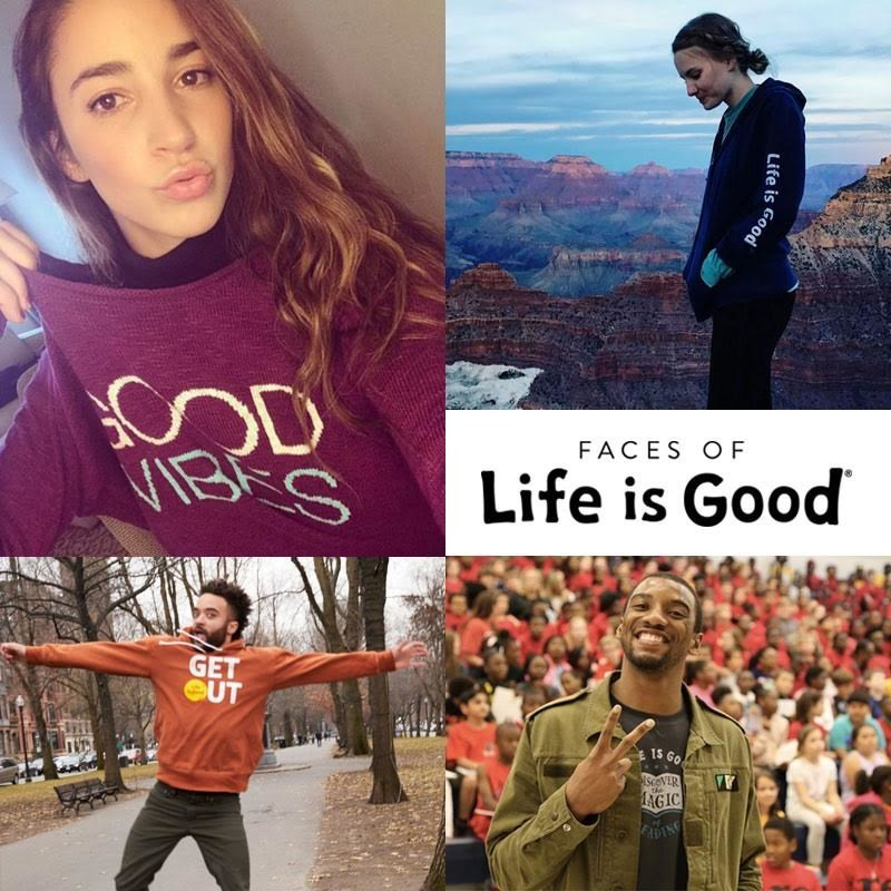 Faces of Life is Good #ThisIsOptimism (clockwise from top-left): World champion gymnast Aly Raisman promotes female empowerment, Instagram user @Anniegracesiroky visits the Grand Canyon, New England Patriots' Malcolm Mitchell shares his love of reading, Instagram user @Mookie embraces a positive outlook on life.