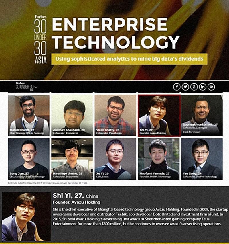 Forbes 30 Under 30 Asia: Enterprise Technology