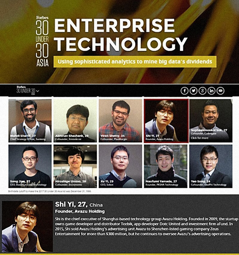 Forbes 30 Under 30 Asia: Enterprise Technology