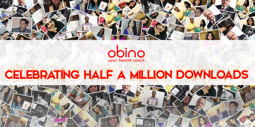 Obino celebrates Half A Million Downloads. Indian Health Coach for Weight Loss, Body Building & Diabetes Control (PRNewsfoto/Obino)