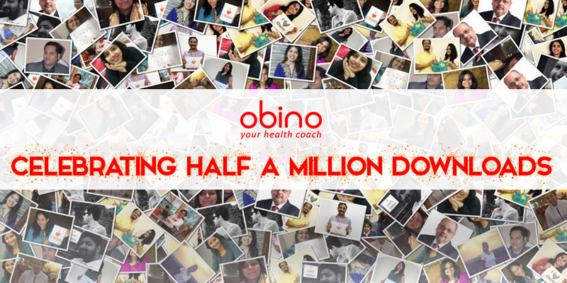 Obino celebrates Half A Million Downloads. Indian Health Coach for Weight Loss, Body Building & Diabetes Control (PRNewsfoto/Obino)
