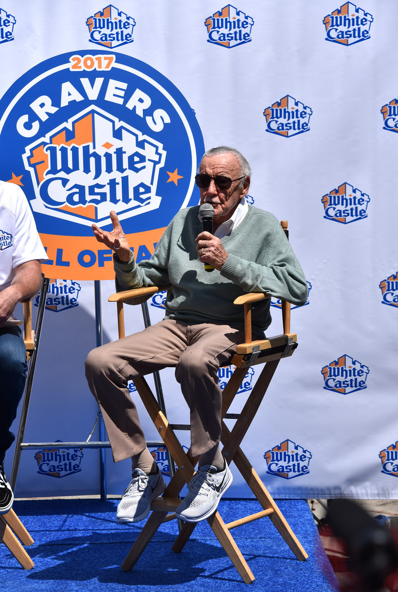 """In a special ceremony in front of fans and media, White Castle welcomed comic legend and Marvel Chairman Emeritus, Stan """"The Man"""" Lee into the White Castle Cravers Hall of Fame.   A big fan of White Castle since his childhood years spent in New York City, Stan Lee joins& rock icon Alice Cooper and the stars of """"Harold & Kumar Go to White Castle,"""" John Cho and Kal Penn, as a full-fledged member of this exclusive club.   For more information, visit https://www.whitecastle.com/cravernation/chof"""