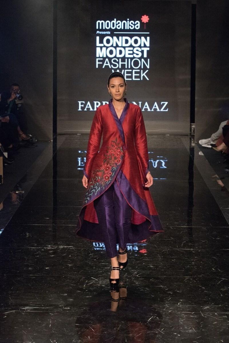 This stunning three-quarter jacket by British designer Farrah Naaz caught the eye at Modanisa London Modest Fashion Week