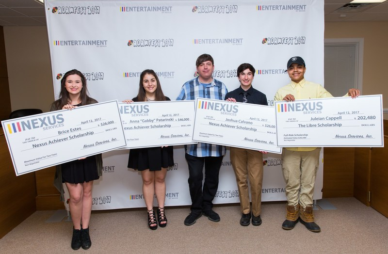 "Brice Estes, Anna ""Gabby"" Patarinski, Joshua Calvano, and Juleian Cappell receive more than $300,000 total in college scholarships through Nexus Services' annual Scholarship Program."