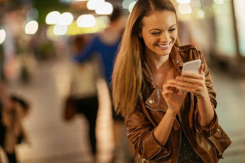 Woman messaging customer service