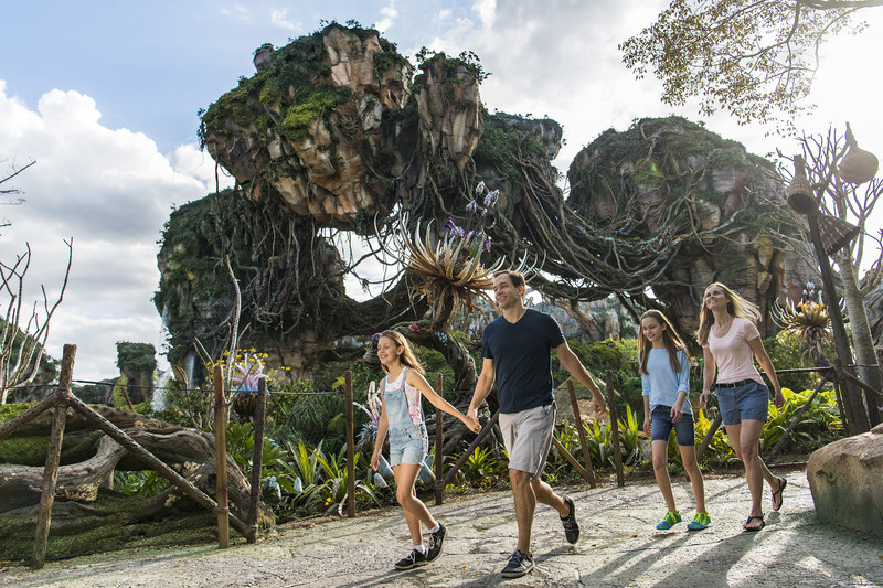 Floating mountains grace the sky while exotic plants fill the colorful landscape inside Pandora - The World of AVATAR, opening May 27, 2017, at Disney's Animal Kingdom. Pandora - The World of AVATAR will bring a variety of new experiences to the park, including a family-friendly attraction called Na'vi River Journey and new food & beverage and merchandise locations. (Matt Stroshane, photographer)
