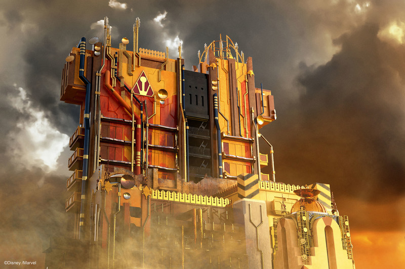 Debuting May 27, 2017, Guardians of the Galaxy–Mission: BREAKOUT! will take guests at Disney California Adventure Park through the fortress of The Collector, who is keeping his newest acquisitions, the Guardians of the Galaxy, as prisoners. Guests will board a gantry lift which launches them into a daring adventure as they join Rocket in an attempt to set free his fellow Guardians. (Artist Concept/Disneyland Resort)