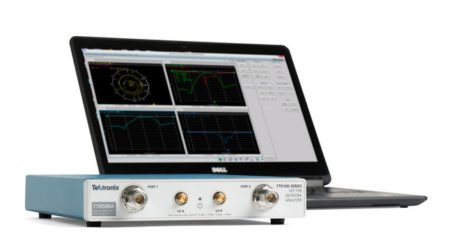 The new Tektronix TTR500 Series USB VNA offers a full 2-port, 2-path S-parameter VNA for such applications as measuring passive/active components, antennas and matching networks, RF modules, test cables, adapters and more. It features a solid set of specifications including 100 kHz to 6 GHz frequency range, 122 dB dynamic range, less than 0.008 dB trace noise, and -50 to +7 dBm output power, all in a compact package weighing less than 4 pounds.