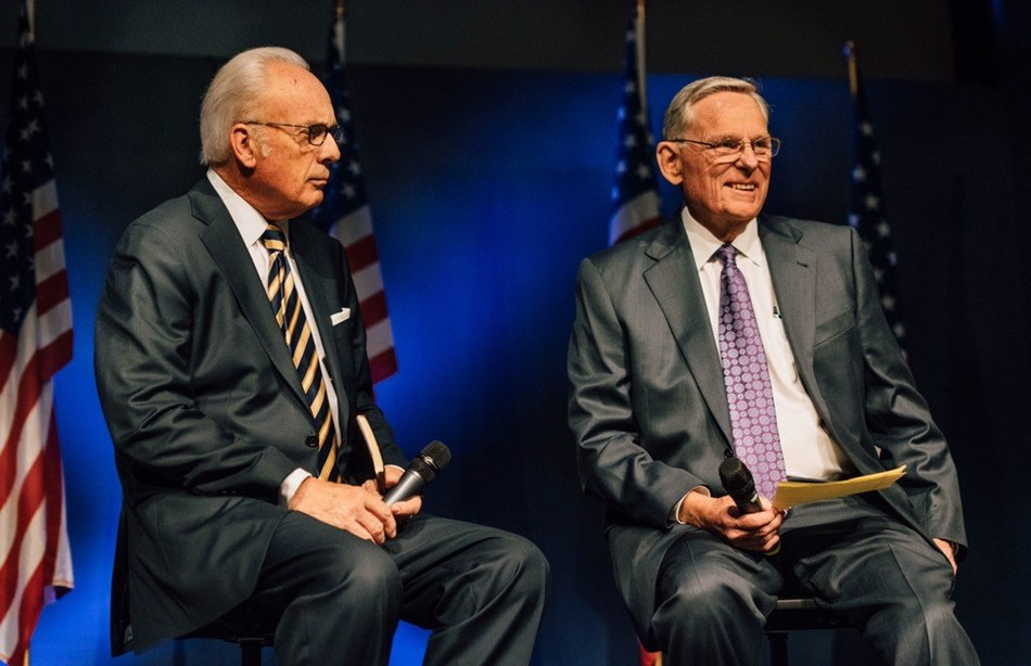 TMU President Dr. John MacArthur and new Provost, Dr. John Stead, at a recent university political summit.