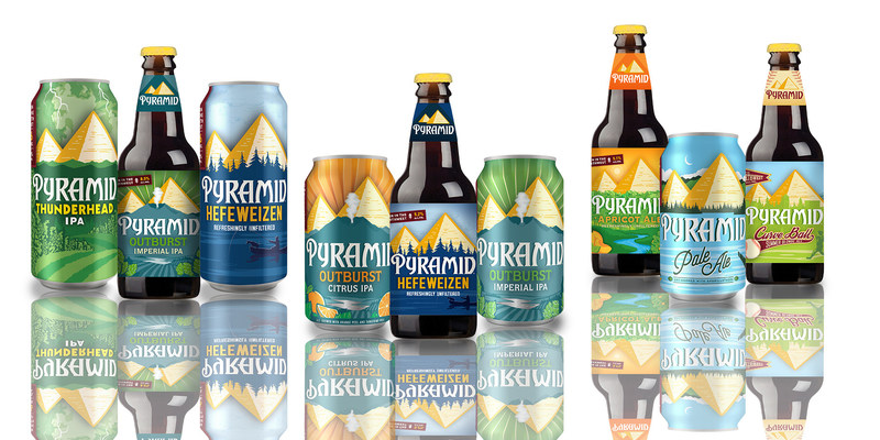 Pyramid Brewing Co. debuts an invigorated brand aesthetic and experience encompassing an expanded line of canned brews, the addition of Outburst Citrus IPA to Pyramid's year-round line-up, all-new packaging and revamped digital channels across its website and social media. The new branding for each beer is pictographic and shares the story of its ingredients by paying homage to iconic Pacific Northwest sceneries with a bold color aesthetic.