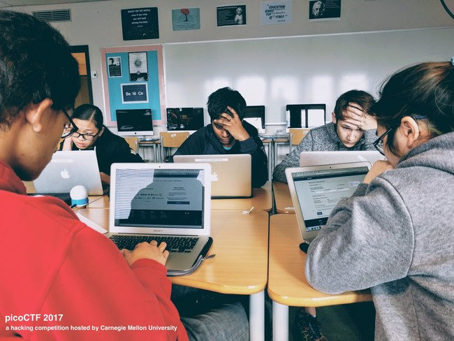 Students from the International School of Stavanger in Norway participated in picoCTF, a hacking competition hosted by Carnegie Mellon University.  (Photo credit: Ryan Strutin, computer science teacher at the International School of Stavanger in Norway)
