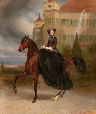 Carl Theodor von Piloty and Franz Adam (Munich 1826-1886 Ambach on Lake Starnberg) and (Milan 1815-1886 Munich) Empress Elisabeth of Austria as bride on horseback in Possenhofen 1853, signed, dated and inscribed, oil on canvas, 128 x 108 cm, estimate EUR300,000-EUR400,000 / Free for use in reporting on auctions / Credits: Dorotheum (PRNewsfoto/DOROTHEUM GmbH & Co. KG)