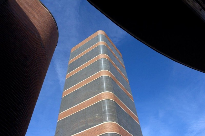 The Research Tower has 15 floors and more than 17 miles of Pyrex glass tube windows