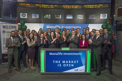 Krista Matheson, Head of ETFs & Structured Products, Manulife Investments, joined Nick Thadaney, President and CEO, Global Equity Capital Markets, TMX Group, to launch their initial suite of four Exchange Traded Funds (ETFs): Manulife Multifactor Canadian Large Cap Index ETF (MCLC); Manulife Multifactor U.S. Large Cap Index ETF (MULC.B/MULC); Manulife Multifactor U.S. Mid Cap Index ETF (MUMC.B/MUMC); and Manulife Multifactor Developed International Index ETF (MINT.B/MINT). Manulife Investments, a division of Manulife Asset Management Limited, offers a variety of products and services to investors including segregated fund contracts, mutual funds, annuities and guaranteed interest contracts. MCLC; MULC.B/MULC; MUMC.B/MUMC; and MINT.B/MINT; commenced trading on Toronto Stock Exchange on April 17, 2017. (CNW Group/TMX Group Limited)