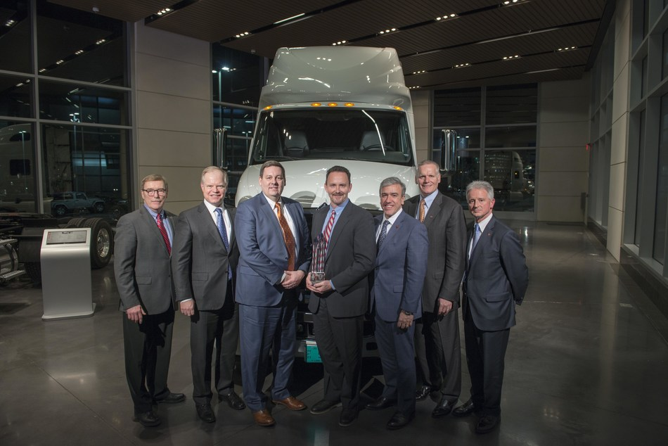 "Donaldson Company's design of customized air filtration systems helped earn Navistar ""Diamond Supplier"" distinction for the second consecutive year. Pictured From left to right: Troy Clark, CEO and President; Walter Borst, EVP & CFO; Tom Scalf, SVP of Engine; Todd Lewis, Director of OEM On-Road Sales; Persio Lisboa, President Operations; Bill Kozek, President, Truck & Parts; Denny Mooney, Senior VP, Global Product Development"