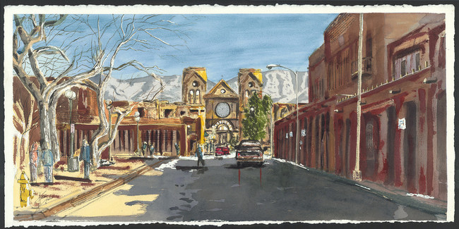 "Antonio Darden ""Cathedral Basilica of Saint Francis of Assisi"" Watercolor 14inx29in"