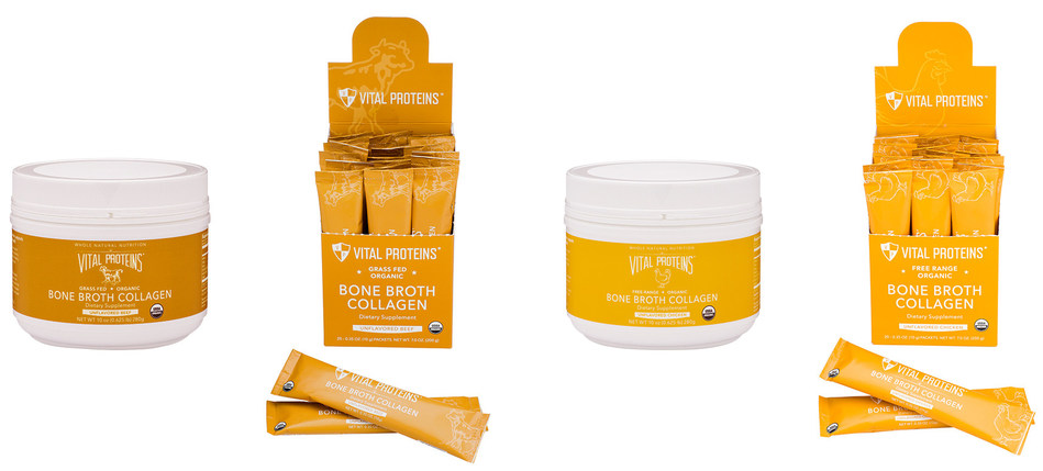 From left: Bone Broth Collagen (Unflavored Beef), 10-ounce canister; Bone Broth Collagen (Unflavored Beef), 20-count stick pack box; Bone Broth Collagen (Unflavored Chicken), 10-ounce canister; Bone Broth Collagen (Unflavored Chicken), 20-count stick pack box