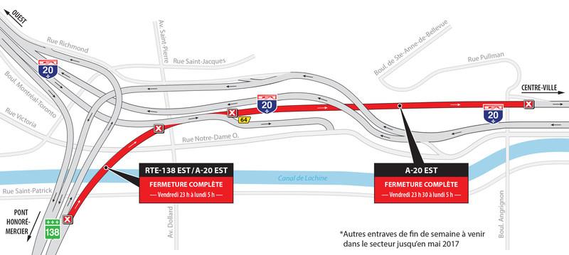 Projet Turcot à Montréal - Entraves majeures dans le secteur des échangeurs Saint-Pierre, Angrignon et Turcot pendant la fin de semaine du 21 avril (Groupe CNW/Ministère des Transports, de la Mobilité durable et de l'Électrification des transports)