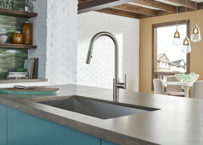 "This ""right-sized"" pull-down faucet is perfect for any kitchen island."