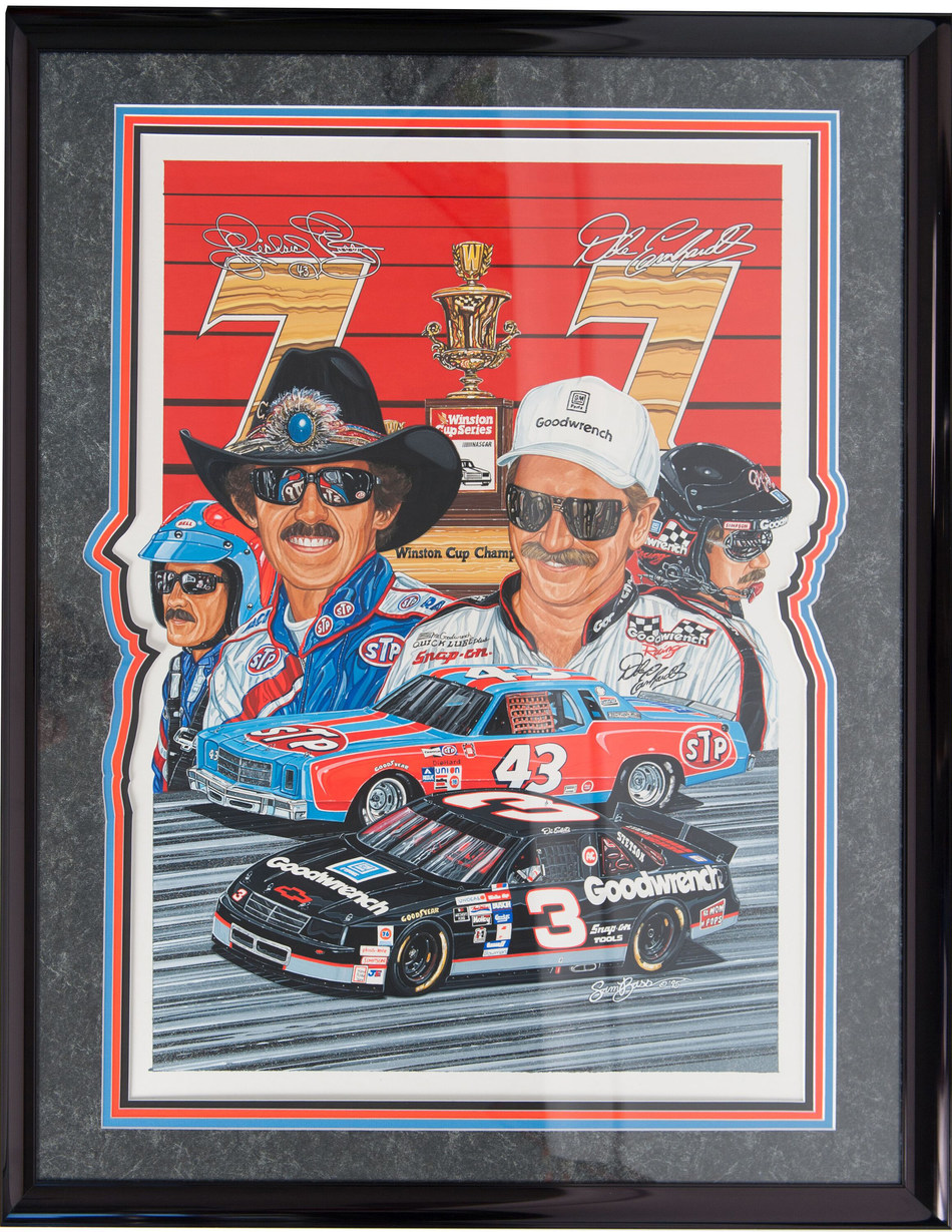"""""""7 & 7"""" Original Artwork by Sam Bass, Richard Petty and Dale Earnhardt 7 Time Champions, 1995. Artwork honoring the first two drivers to ever become 7-time NASCAR Cup Champions."""