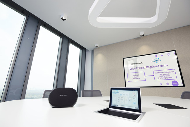 """At the Watson IoT Global headquarters in Munich, Germany, clients, partners and IBM teams conduct productive meetings using in-room, voice-enabled cognitive solutions created with HARMAN Professional Services in the industry's first and only """"collaboratories."""""""