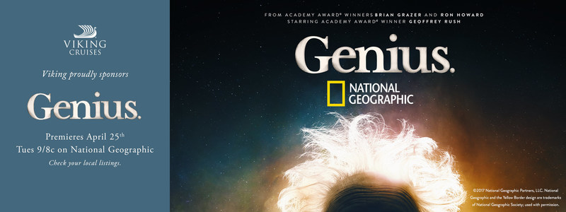 """Viking Cruises today announced a new partnership with National Geographic to sponsor its first fully scripted series, """"Genius,"""" which in its debut season features the 20th century's most brilliant icon, Albert Einstein. The partnership continues Viking's commitment to enriching cultural programming, and during the global premiere on April 25, Viking will showcase a new brand campaign entitled """"Time,"""" featuring Chairman, Torstein Hagen. For more information visit www.vikingcruises.com."""