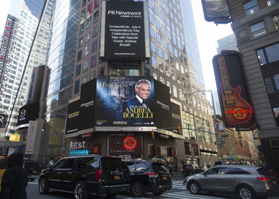New York City's iconic Times Square is the setting for Dream Loud's announcement of Andrea Bocelli's special guest performance at the 2017 edition of Orvieto4Ever. Pictured behind Mr. Bocelli is the 13th century cathedral and backdrop for the performance, il Duomo di Orvieto