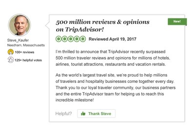 TripAdvisor Reaches Half A Billion Reviews And Opinions And Counting