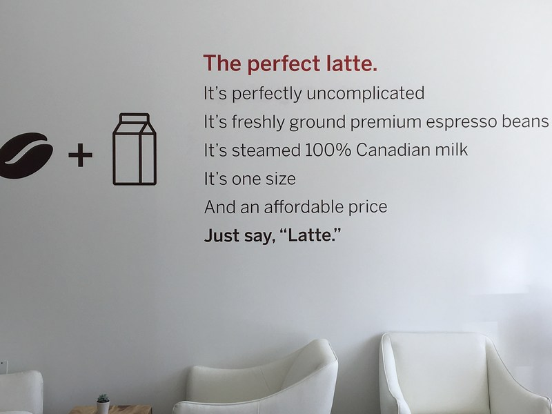 A shot from the interior of the new Toronto-based, Perfectly Uncomplicated Latte shop, revealed today in connection with the national launch of Tim Hortons new latte on April 26, 2017. The shop remains open until the same date with all proceeds going to the Tim Hortons Children's Foundation. (CNW Group/Tim Hortons)