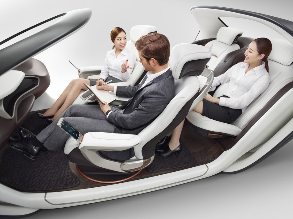 Once vehicles have the capability to be computer-driven, occupants will demand far more flexibility from the vehicle's seating and interior space than ever before. The concept features innovations that increase interior flexibility; while also providing higher levels of safety, comfort and convenience. (PRNewsfoto/Adient Ltd. & Co. KG)