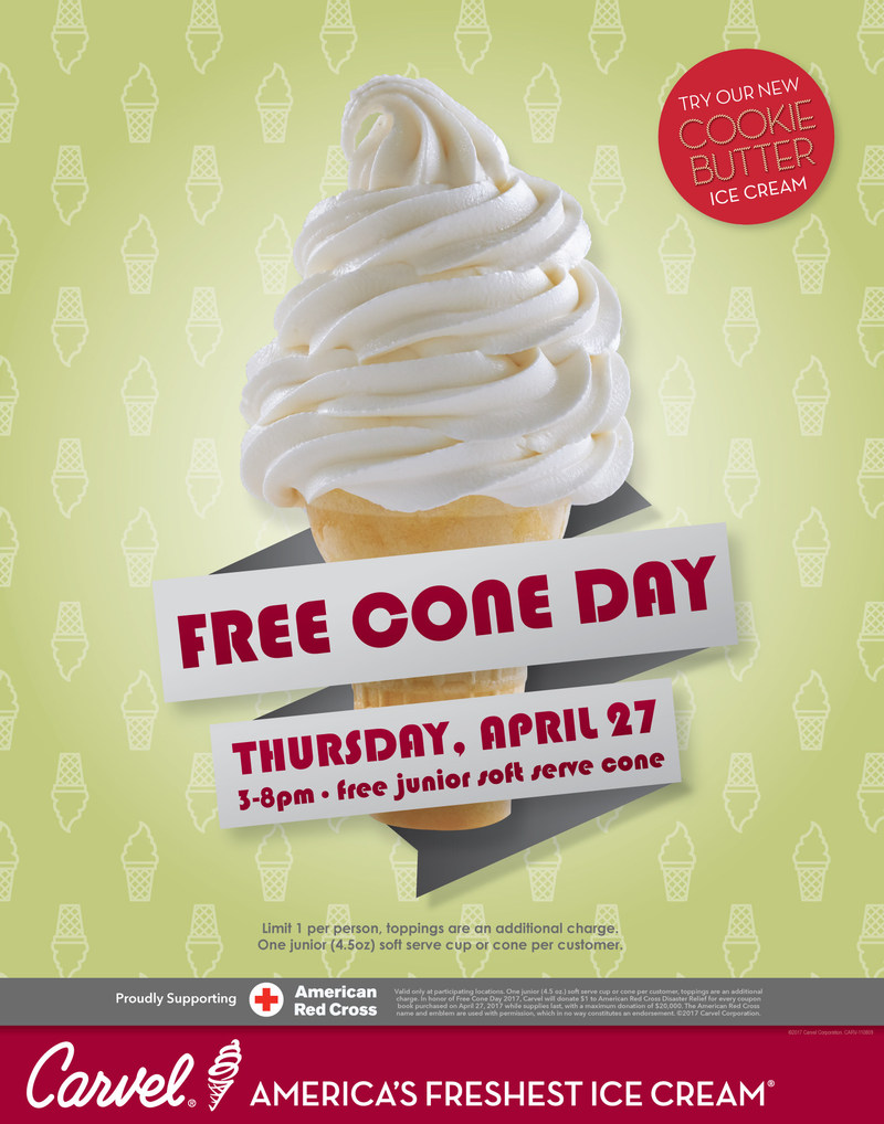 Carvel… America's Freshest Ice Cream® Hosts Annual FREE Cone Day on Thursday April 27 from 3-8 p.m. at participating shoppes