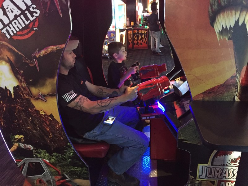 Warriors and their families enjoyed camaraderie during a day of old and new video games in Panama City.