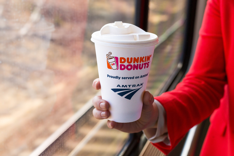 Amtrak partners with Dunkin' Donuts coffee on the Acela Express NEC service.