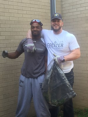 Brian Coester Founder and CEO and Jerry White clean up Rachel Carson Elementary School in Darnestown MD
