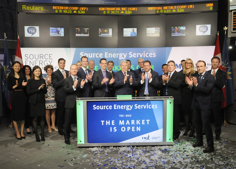 Brad Thomson, Chief Executive Officer, Source Energy Services Ltd. (SHLE), joined Shaun McIver, Chief Client Officer, Equity Capital Markets, TMX Group, to open the market. Source Energy Services Ltd. is a fully integrated producer, supplier and distributer of high quality Northern White frac sand primarily to the Western Canadian Sedimentary Basin. Source Energy Services Ltd. commenced trading on Toronto Stock Exchange on April 13, 2017. (CNW Group/TMX Group Limited)
