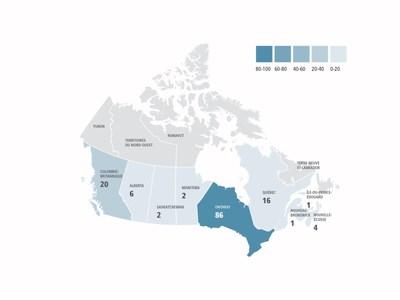 (Enquêtes – par province) - En 2016, l'OCRCVM a mené au total 138 enquêtes à l'encontre de sociétés et de particuliers partout au Canada. (Groupe CNW/Organisme canadien de réglementation du commerce des valeurs mobilières (OCRCVM) - Nouvelles d'intérêt général)