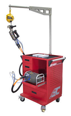 Chief® introduces a new cabinet to help technicians more easily and ergonomically use its high-power Heavy-Duty Rivet Gun.