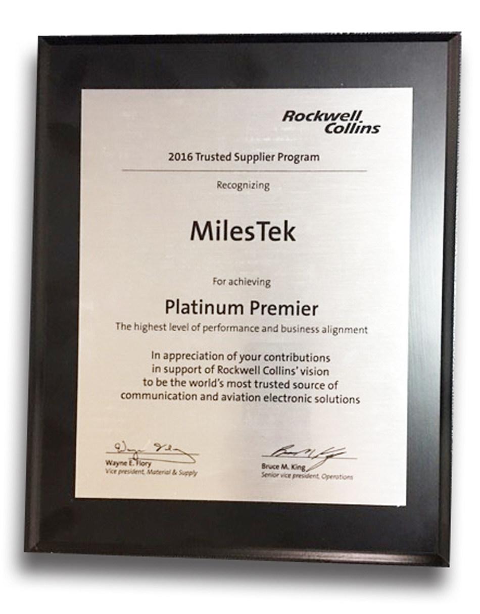 MilesTek Rockwell Collins Platinum Premier Award
