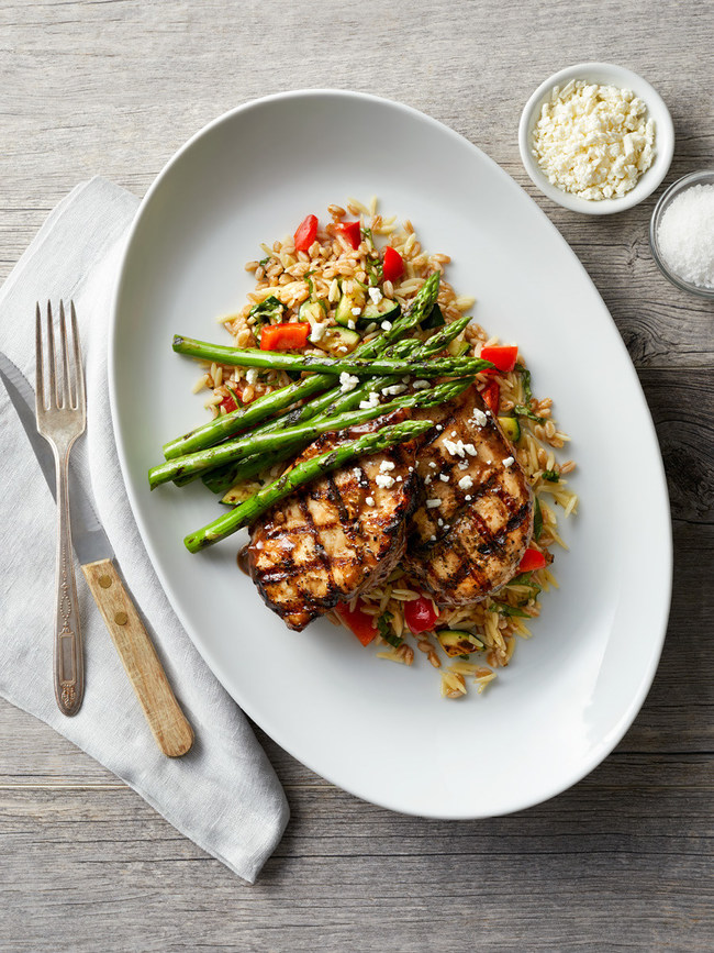 Grilled Balsamic Chicken with orzo, farro, zucchini, roasted red peppers, asparagus and feta