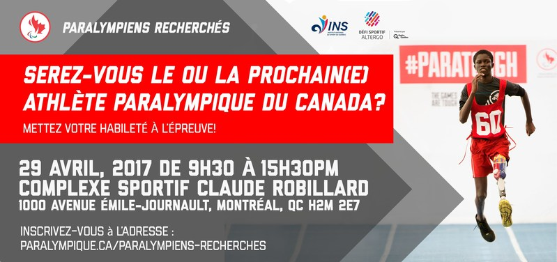 PARALYMPIENS RECHERCHÉS sera à Montréal le 29 avril pour découvrir la future génération de potentiels athlètes paralympiques. (Groupe CNW/Comité paralympique canadien (CPC))