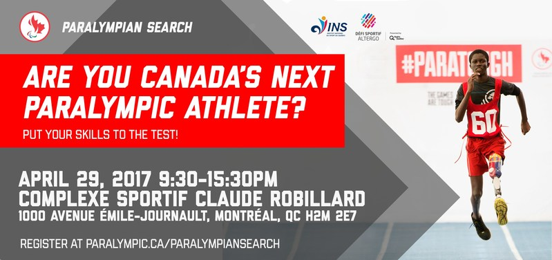 PARALYMPIAN SEARCH to visit Montreal on April 29 to discover future generation of potential Paralympic athletes. (CNW Group/Canadian Paralympic Committee (CPC))