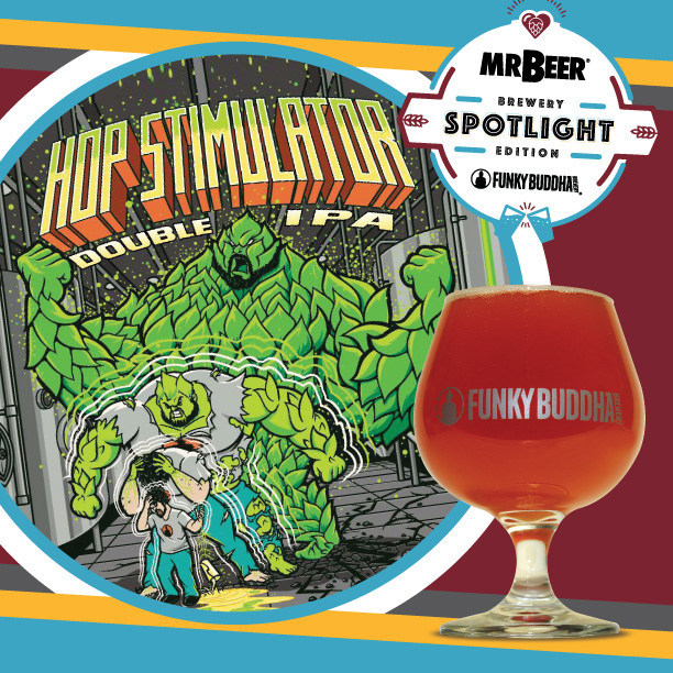 Funky Buddha's Hop Stimulator Double IPA artwork and beer.